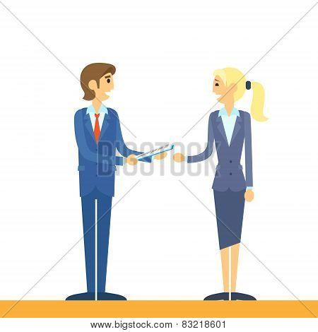 business people talking comunicating flat design