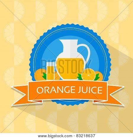 orange juice flat design banner card vector