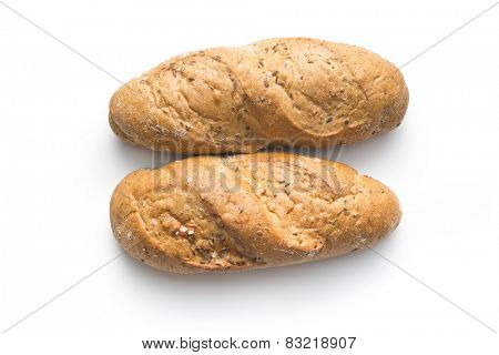 wholemeal roll on white background