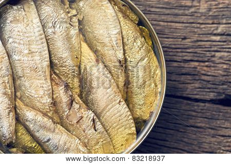 top view of can of sprats
