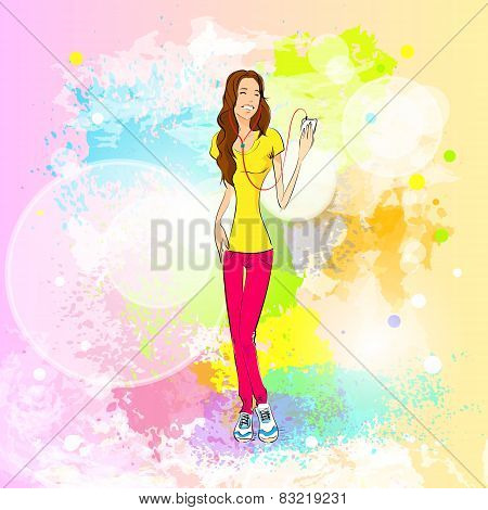 woman listen to music hold player casual over colorful splash paint background