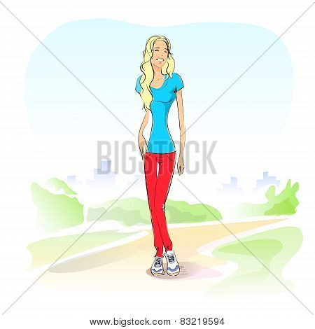 young student girl casual outdoor green grass standing on road vector