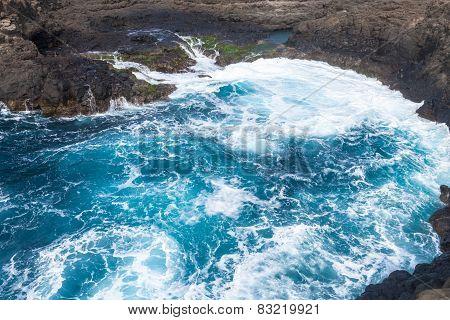 Waves Crashing On The Rocks Of Sal Island, Buracona - Cape Verde