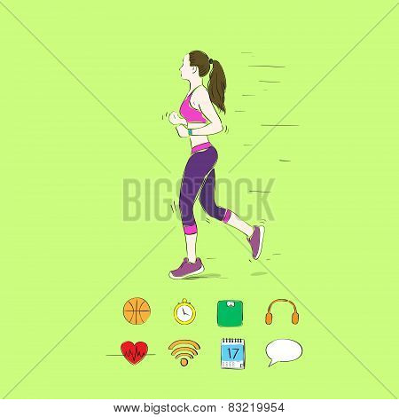 sport woman run with fitness tracker on wrist girl runner jogging training