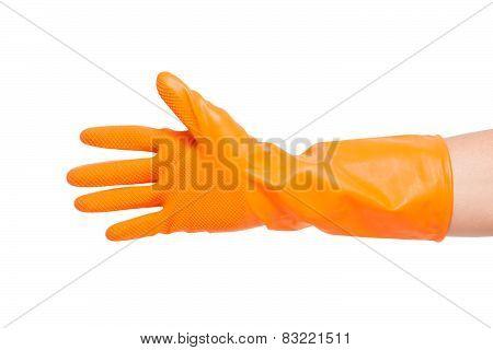 Hand in orange glove.