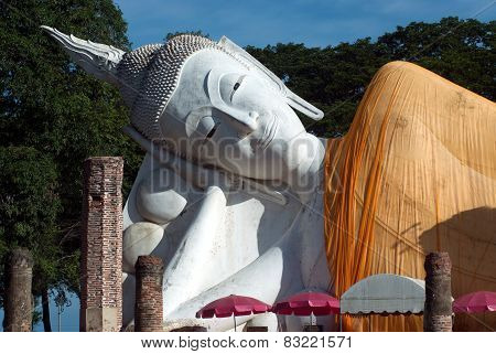 Outdoor Famous Reclining Buddha In Thailand.