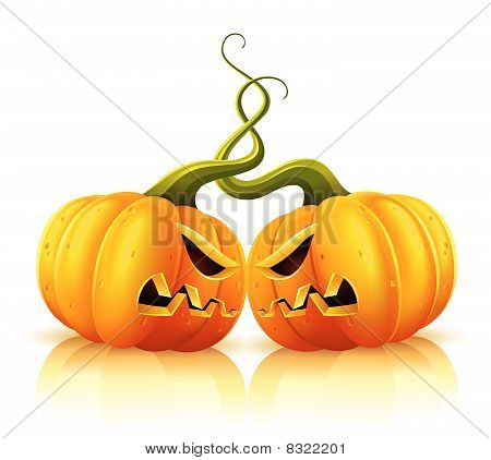 two aggressive halloween pumpkins in skirmish