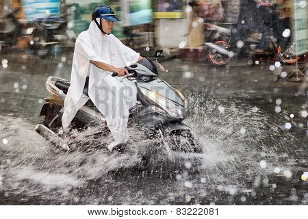 Scooter In The Rain