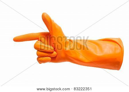 Working hand in gloves showing the gun sign