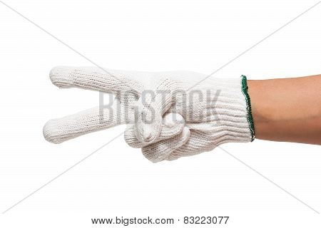 hand in white glove counts two