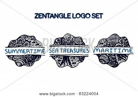 Detailed hand drawn zentangle logo set