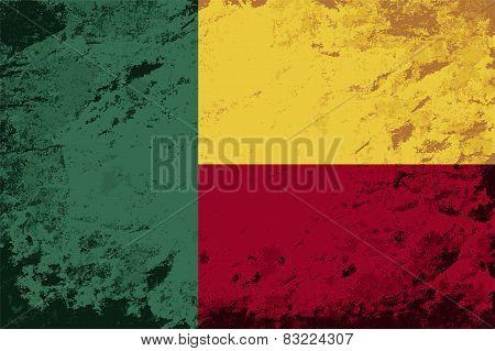 Benin flag. Grunge background. Vector illustration