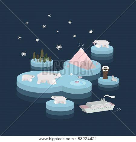 Flat 3D Isometric Arctic Life Illustration