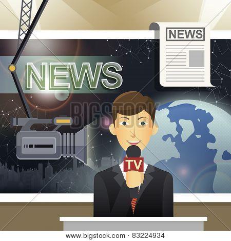 News Release Scene In Flat Design