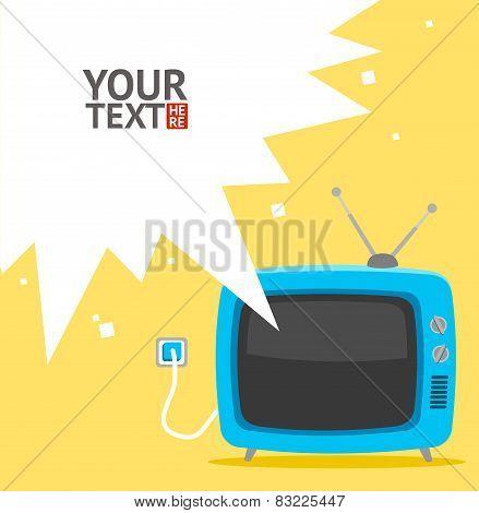 Vector retro television card. Flat Design