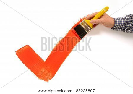 Man Painting Red Checkmark