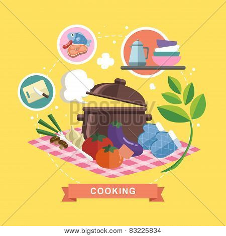 Cooking Concept In Flat Design