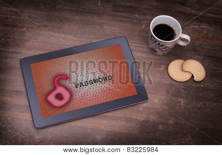 Tablet On A Desk, Concept Of Data Protection