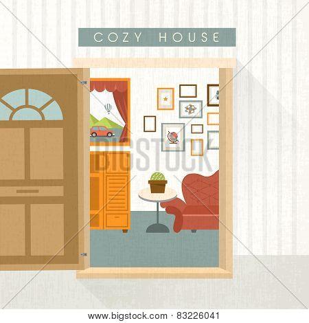 Interior Scene With Sofa In Flat Design