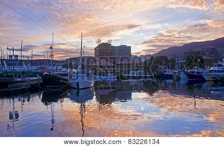 Hobart, Australia - December 31, 2014: View Of The Port On 31