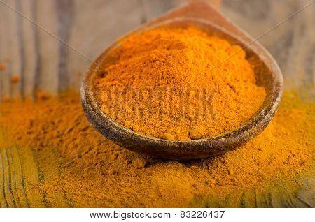 Curcuma Powder On A Wooden Spoon