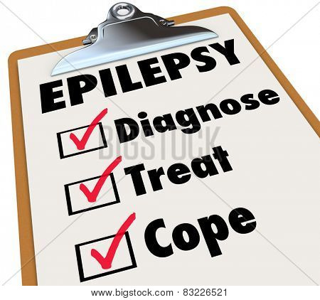 Epilepsy word on a clipboard checklist for care and treatment of the neurological disorder causing seizures