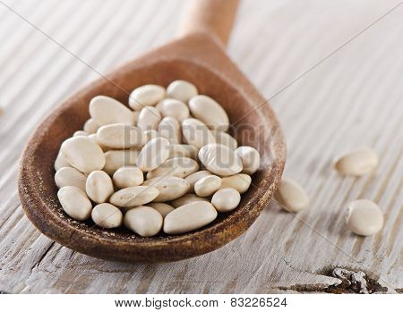 White Beans In A Old Wooden Spoon