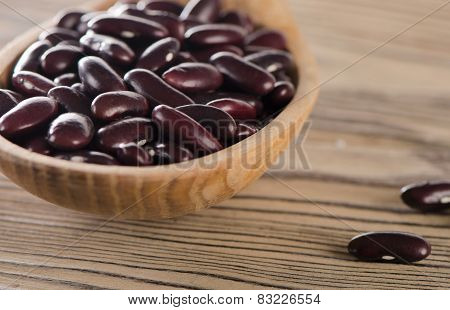 Kidney Red Beans In Wooden  Spoon.