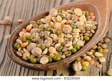 Lentils On  Wooden Table