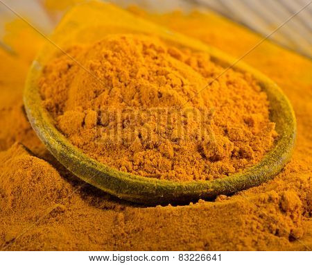 Turmeric Powder On A Wooden Spoon.