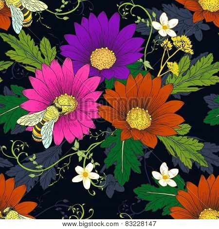Retro Daisy With Bees Seamless Pattern