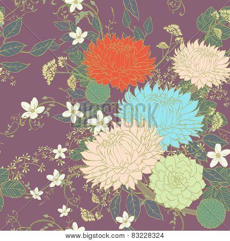 Vintage Ornate Chrysanthemum Seamless Pattern