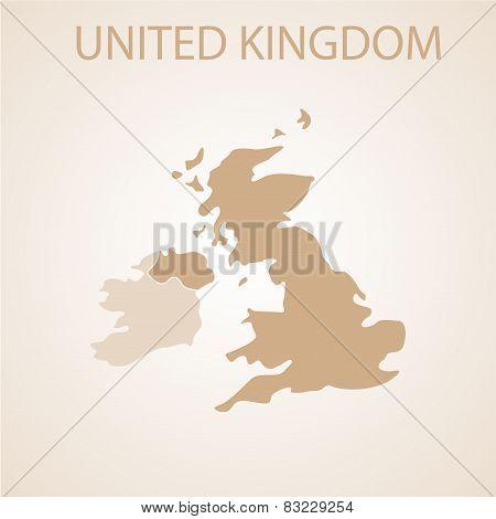 United Kingdom map brown