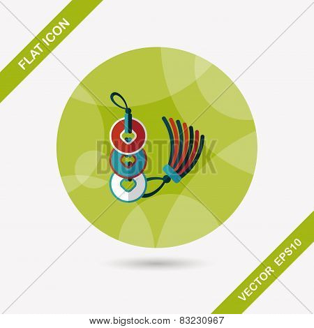 Chinese New Year Flat Icon With Long Shadow,eps10, Ancient Coins Lucky Pendant Means