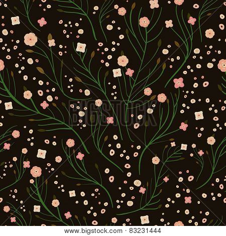 Adorable Pink Floral Seamless Pattern