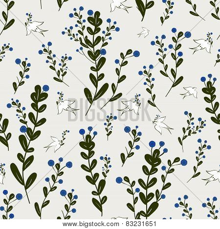 Adorable Floral Seamless Pattern With Birds Element