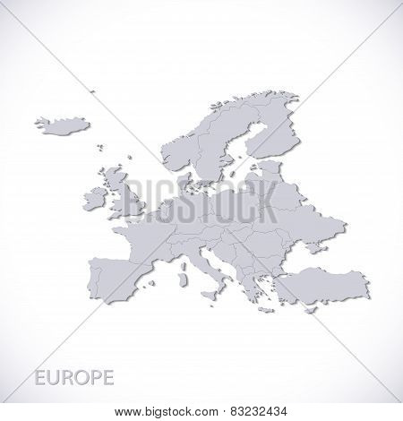 Europe map gray. Vector political with state borders