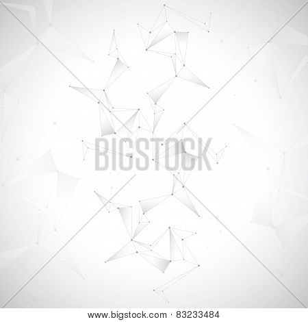 Geometric gray background. Molecule and communication background. Graphic background for your design