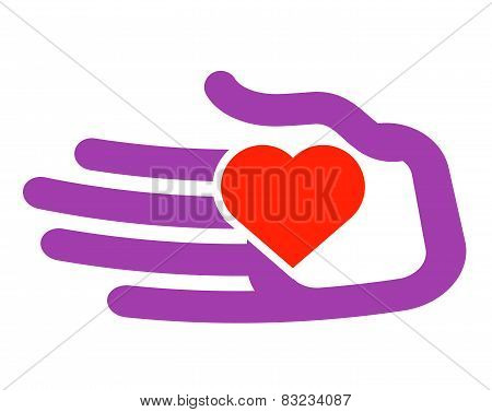 hand and heart vector logo design template. charity or family icon.