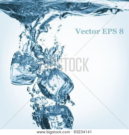A lot of ice cubes poured in water, vector illustration EPS 8.