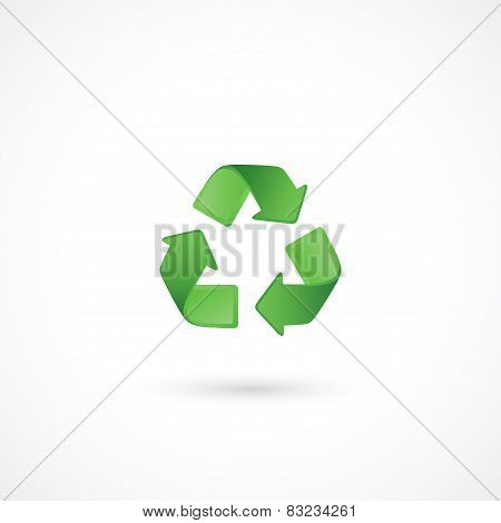 Recycle green icon on white background. Vector symbol