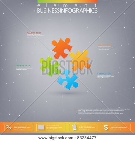 3D Puzzle piece infographics . Can be used for web design , diagram, for workflow layout