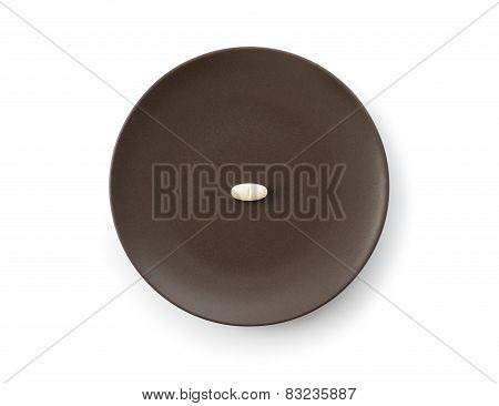 White Tablet Pill In Plate
