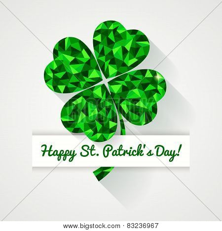 Happy St. Patrick's Day! Greeting Card With Polygonal Clover Leaf.