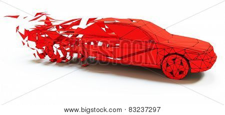 Low-poly style moving red car . 3d concept