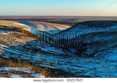 Hills And Ravines In Winter