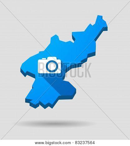 Blue North Korea Map With A Photo Camera