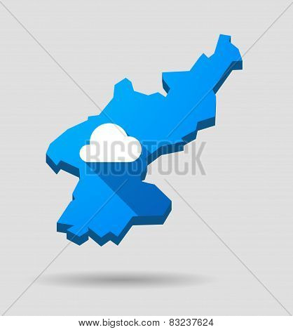 Blue North Korea Map With A Cloud