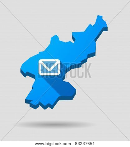 Blue North Korea Map With An Email Sign