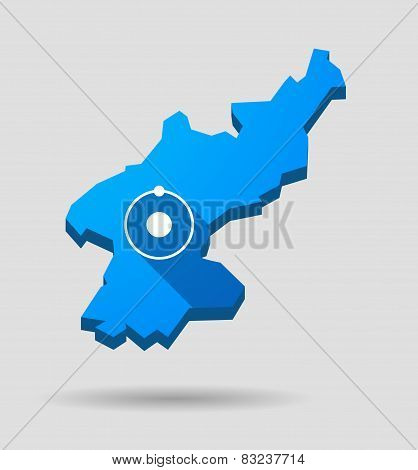 Blue North Korea Map With An Atom